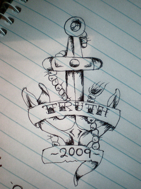 480x640 Anchor Tattoo Drawing With Inscription Truth 2009 Banner