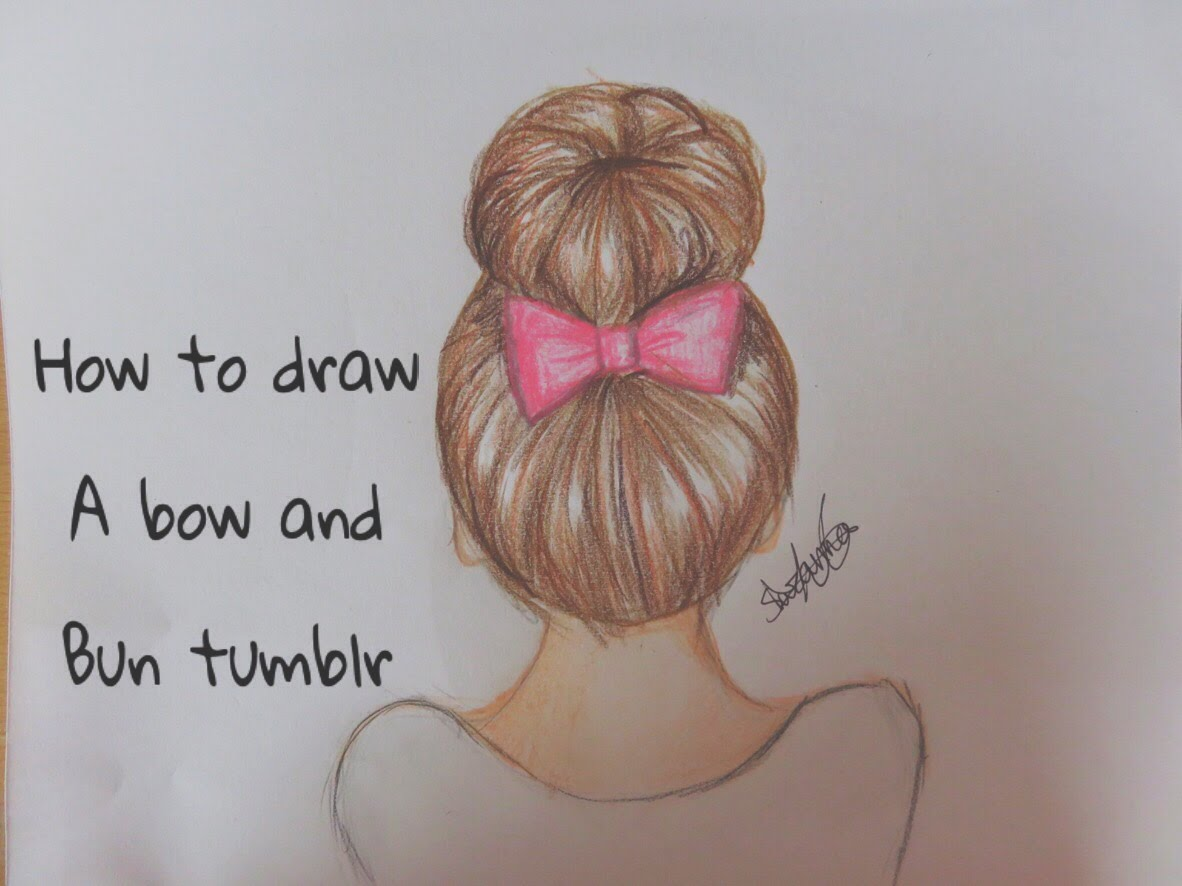 1182x886 How To Draw A Bow Amp Bun Tumblr Hair