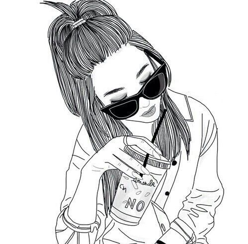 499x491 Imagen De Girl, Drawing, And Outline Tumblr Outlines