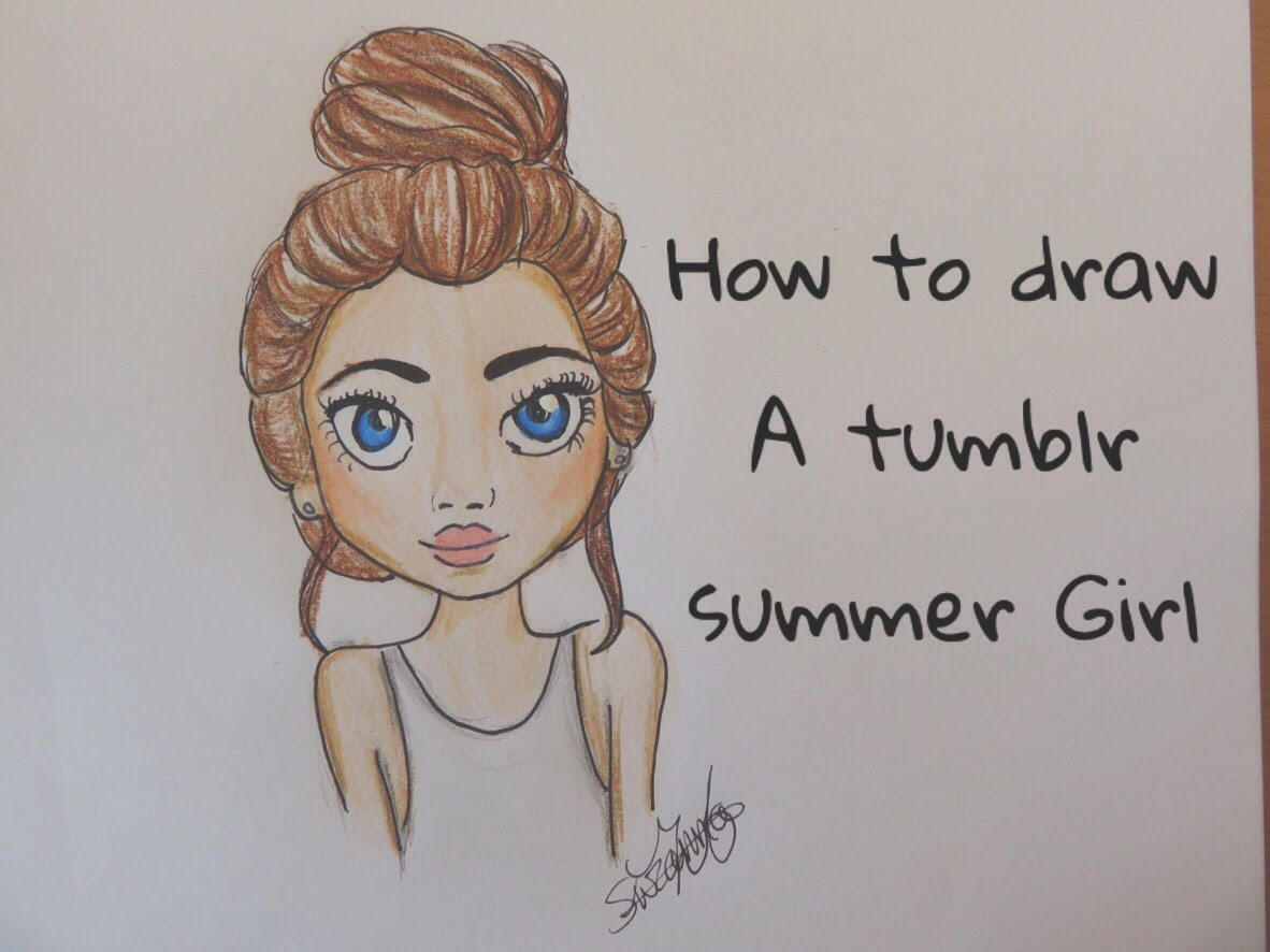 1182x886 How To Draw A Girl With A Messy Bun Tumblr