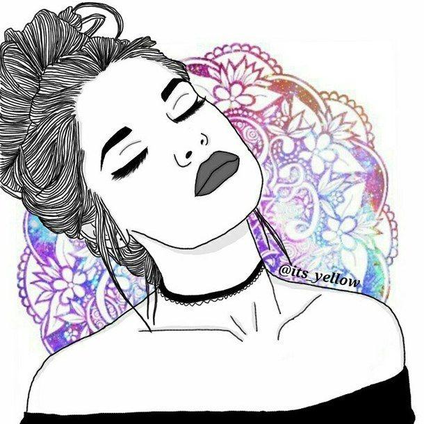 610x610 Dessins De Fille Tumblr , Outline, Outlines, Purple, Style
