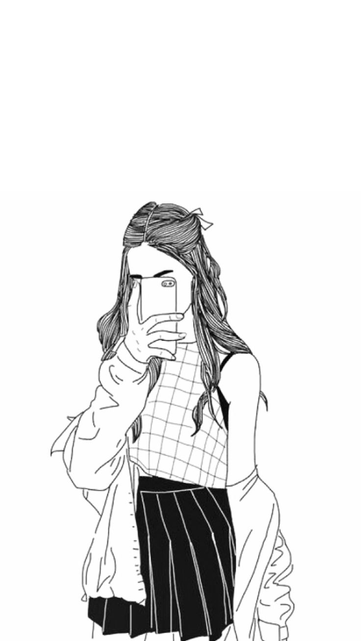 736x1306 Black Tumblr Girl Drawing Tumblr Girl Drawings Black And White
