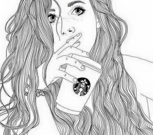 Tumblr Hipster Girl Drawing
