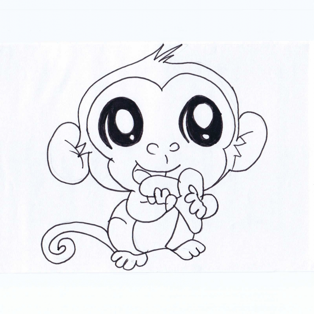 1023x1024 Cartoon Monkey Drawing How To Draw A Cartoon Monkey For Kids Very