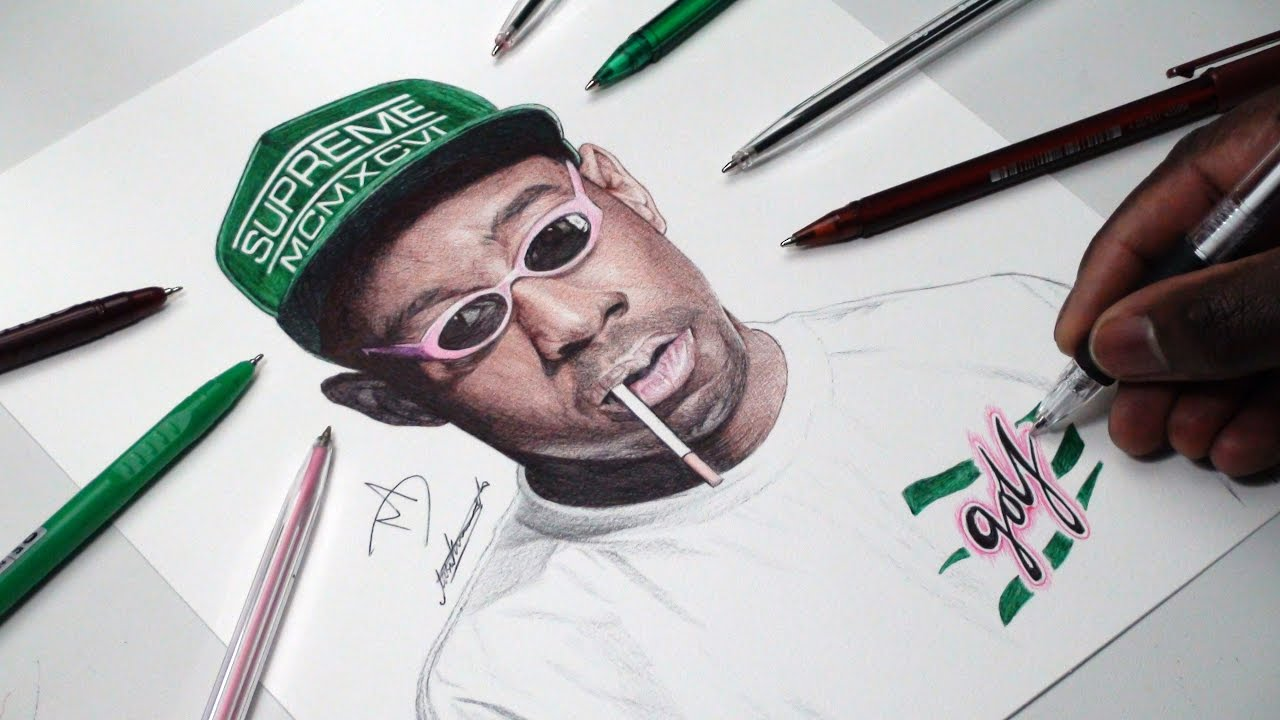 1280x720 Tyler, The Creator Pen Drawing