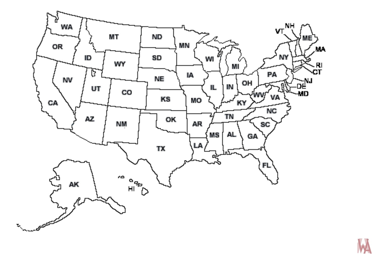 United States Outline Drawing At Getdrawingscom Free For Personal - Blank-us-outline-map