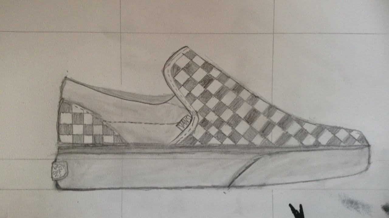 1280x720 Sneaker Sketch Vans Checkerboard Slip Ons