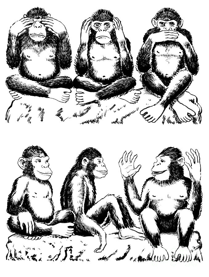 678x900 See No Evil Hear No Evil Speak No Evil With Variation Drawing By