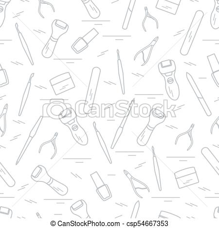 450x470 Seamless Pattern With Variety Tools For Manicure And Clipart