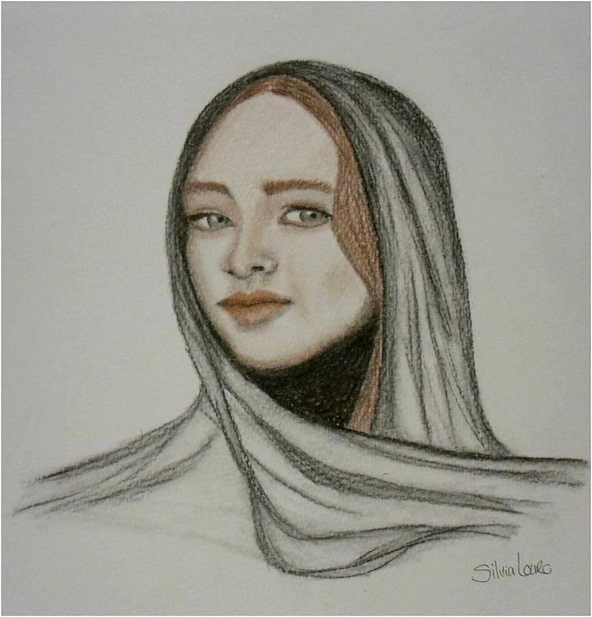 864x900 Roxanne's Veil Drawing By Silvia Louro