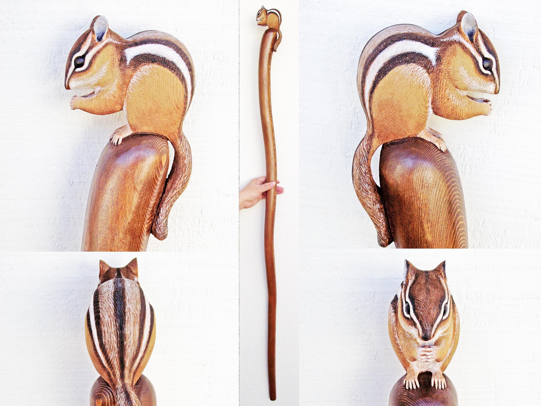2816x2112 Wood Carved Chipmunk Walking Stick Walking Sticks And Original