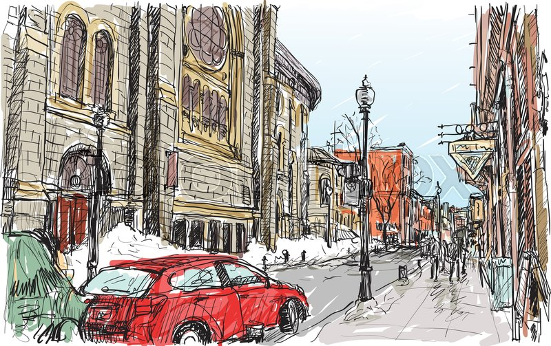 800x503 City Scape Sketch Of Town Street In Quebec Canada With Snow