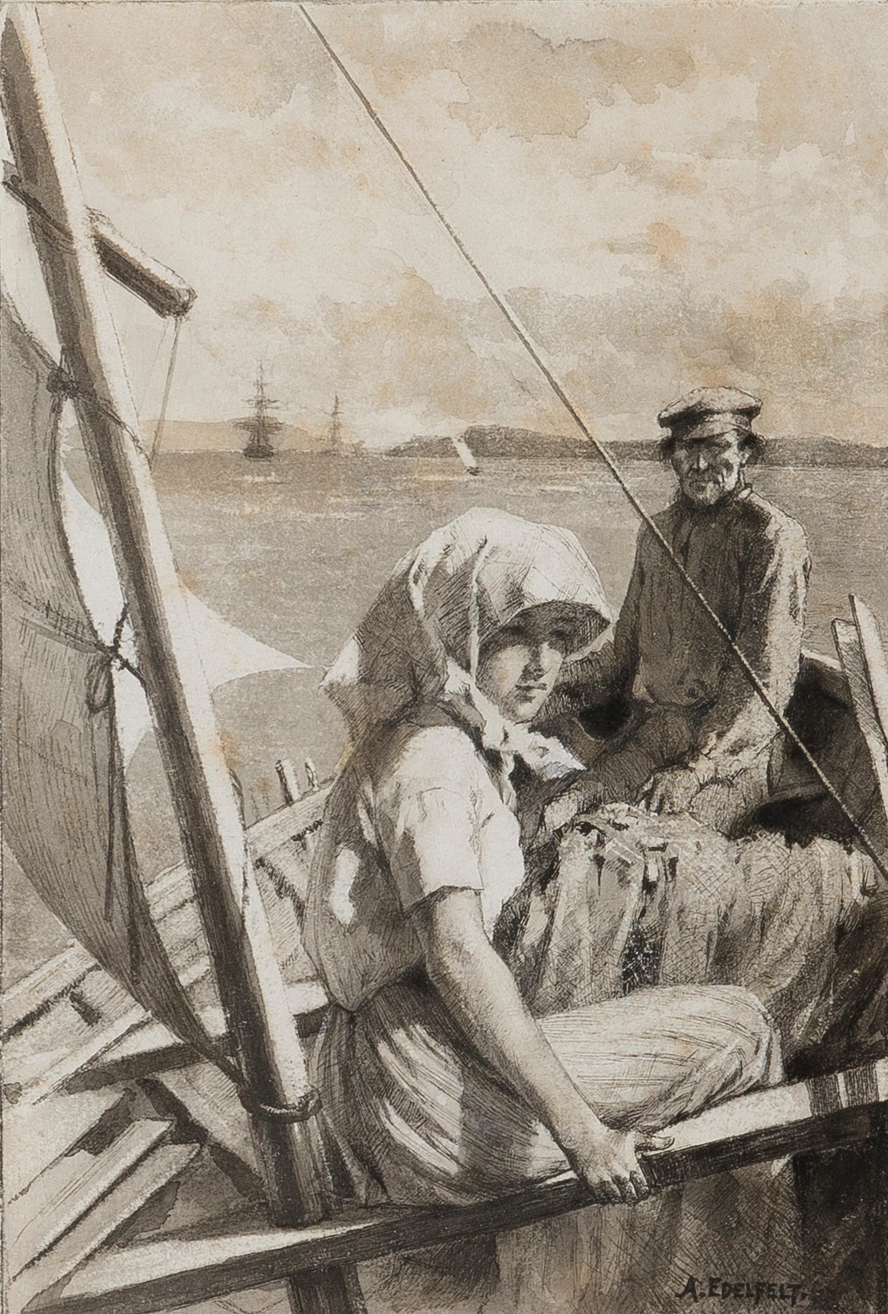 1757x2600 Albert Edelfelt, Albert Edelfelt, At Sea, Charitable Wash Drawing