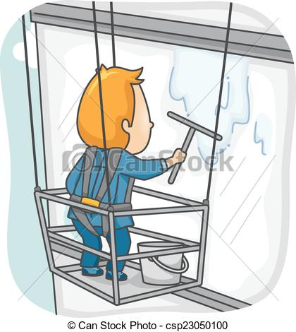 420x470 Window Washer. Illustration Featuring A Man Cleaning The Window