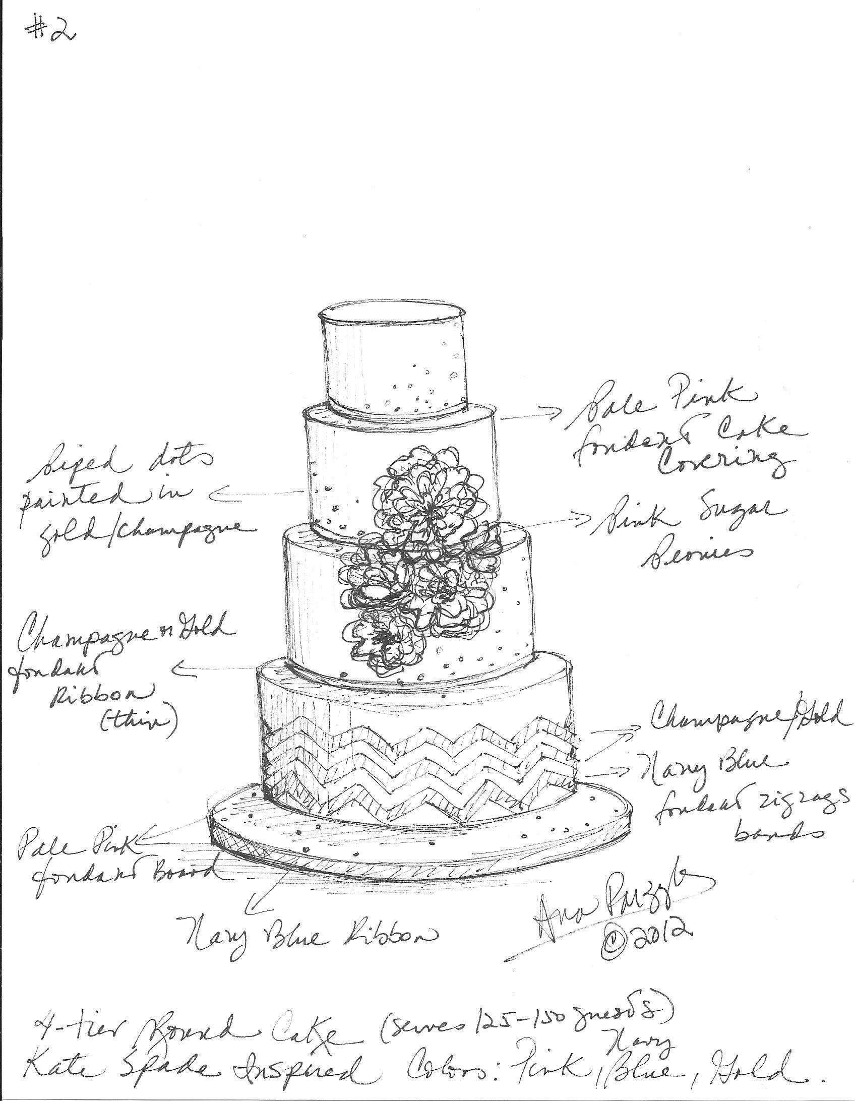 1696x2184 Custom Wedding Cake Sketch Sketches Wedding Cake