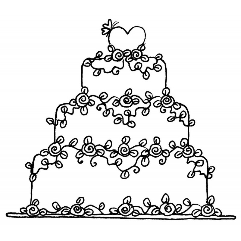 800x800 Floral Wedding Cake Rubber Stamp