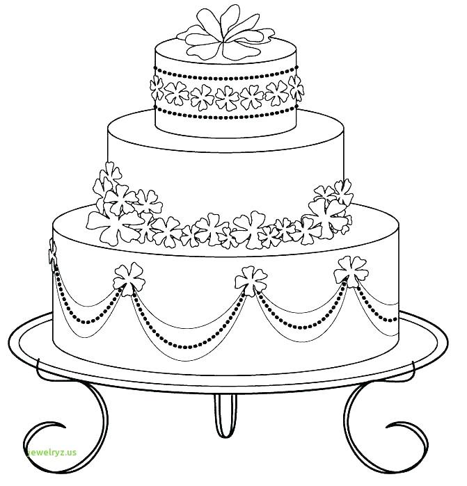 671x699 Luxury Wedding Cake Black And White Drawing