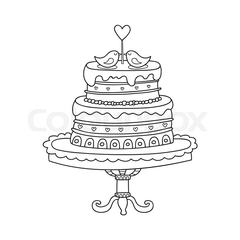 800x800 Vector Wedding Cake For Wedding Invitations Or Announcements
