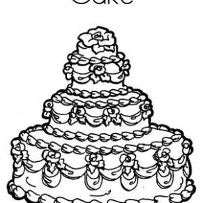 291x291 Wedding Cake Coloring Pages Printable Coloringstar Sketch