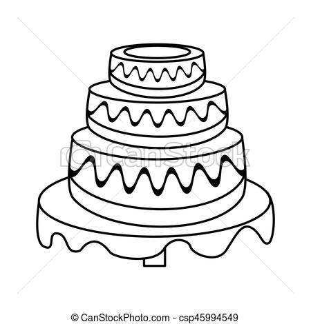 450x470 Wedding Cake Dessert Outline Vector Illustration Eps 10 Eps Vector
