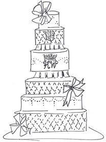 208x280 Blue Poppies Wedding Cake Sketch Sketches Blue