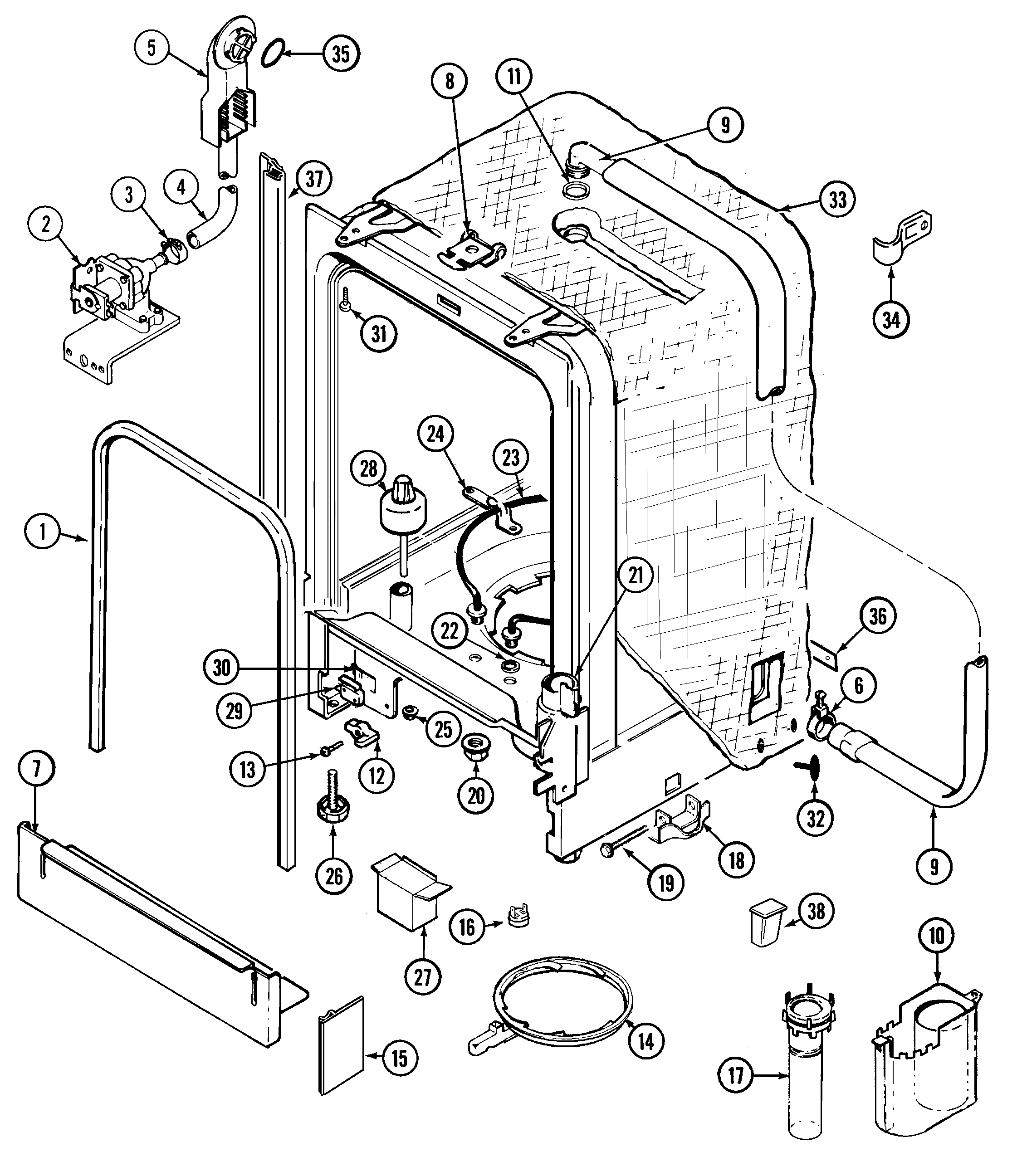 Whirlpool Drawing At Free For Personal Use Electric Range Wiring Diagram 2242x2593 Maytag Mdb6000awa Timer