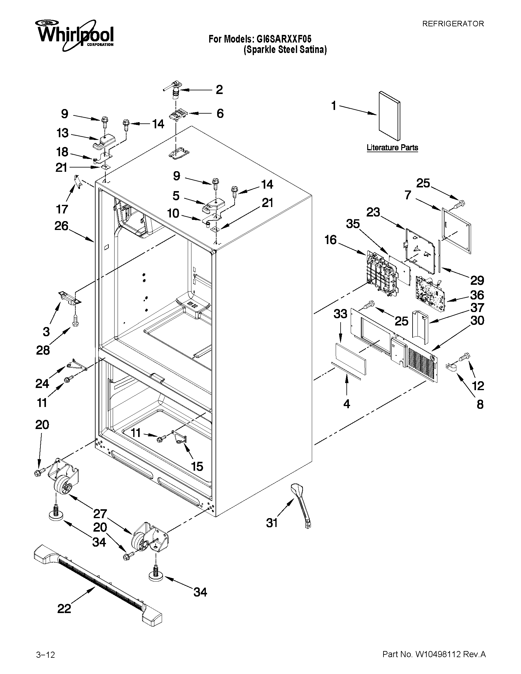 Whirlpool Drawing At Free For Personal Use Refrigerator Schematic 1701x2201 Model Gi6sarxxf05 Bottom Mount Genuine Parts