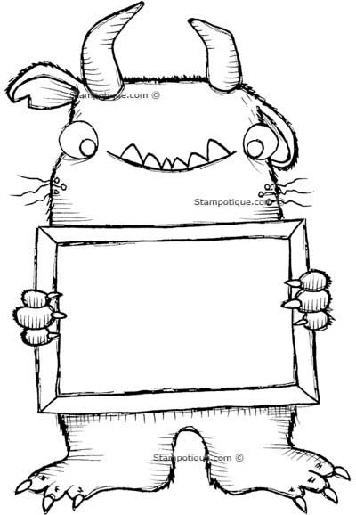 400x578 Whisker Monster With Sign Coloring Pages Monsters
