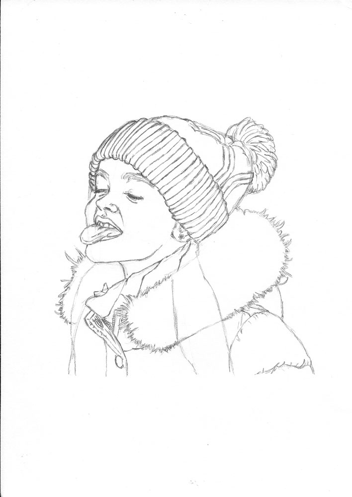 708x1000 How To Draw A Child Catching Snowflakes With Her Tongue Let'S