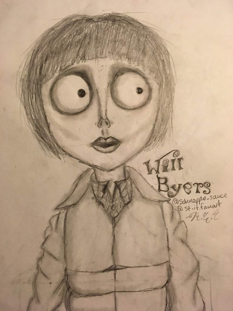768x1024 Tim Burton Style Will Byers Drawing! Stranger Things Amino