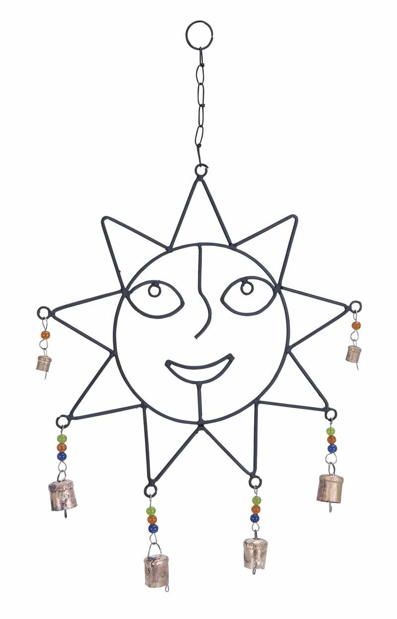 800x1248 Beaded Metal Wind Chime Sculpted Sun Face Smiling Uma 26731