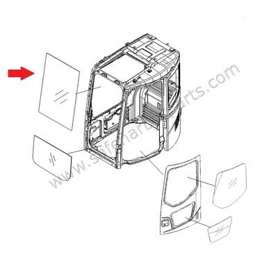 400x400 22b 54 17931 Excavator Front Upper Windowpane