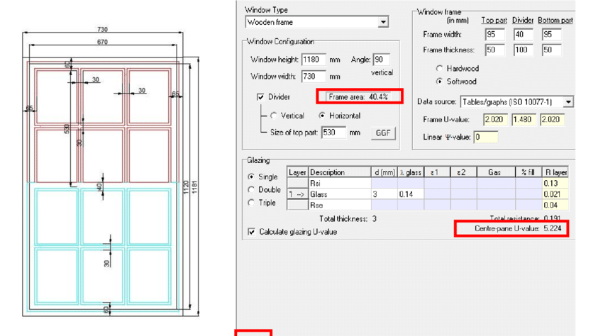 850x474 Drawing Of A Typical Window In Wee Causeway Fig. 25 U Value