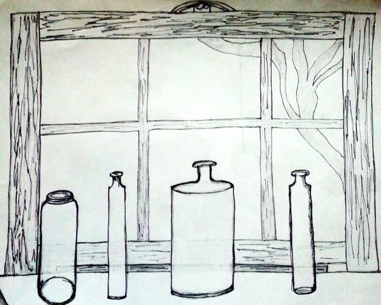 770x616 Saatchi Art Window Pane Drawing By Pamela Starr
