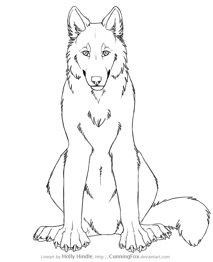 741x912 Free Wolf Lineart