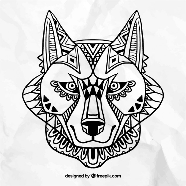 626x626 Abstract Wolf Face Vector Free Download
