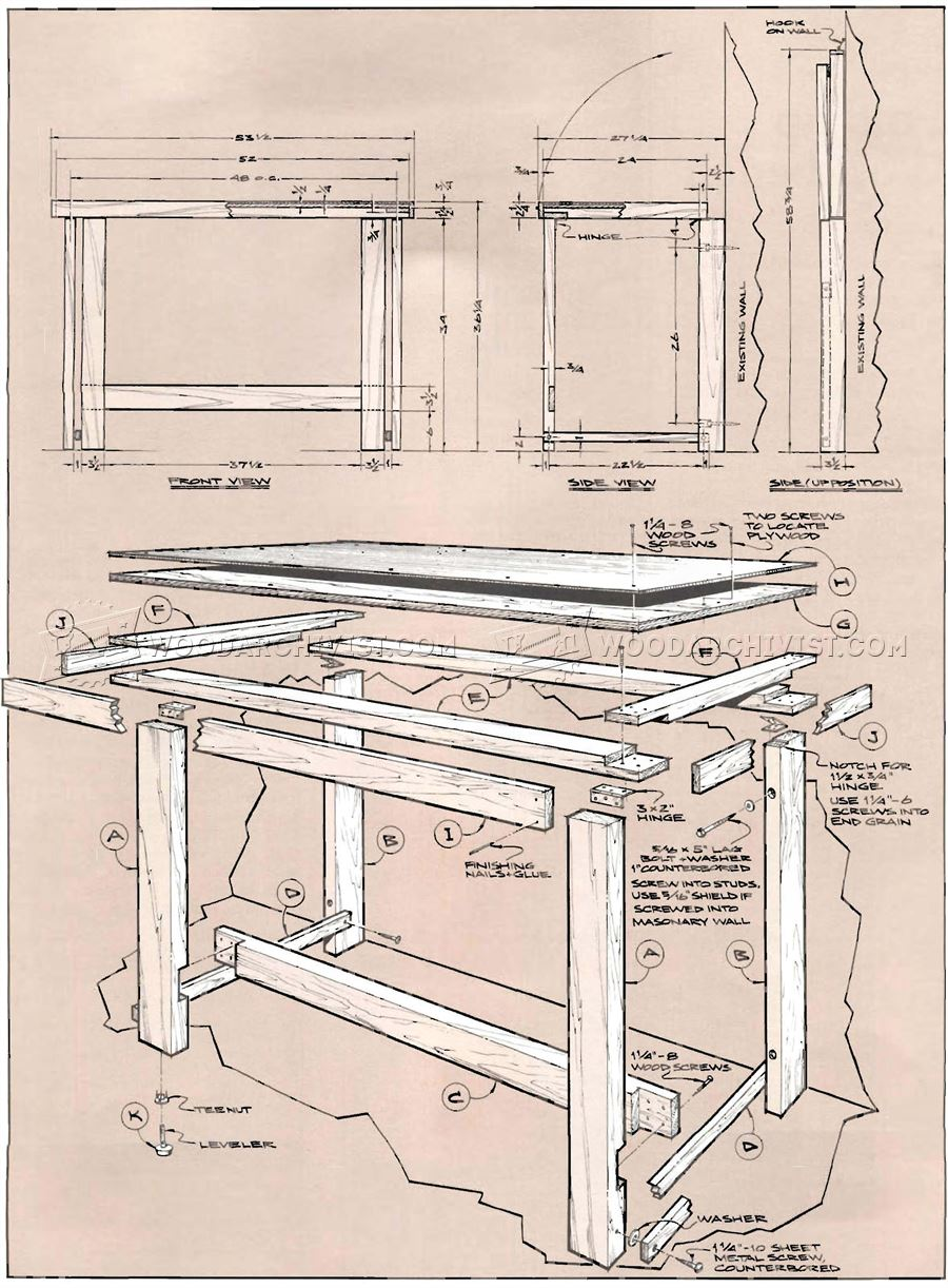 900x1222 Fold Down Workbench Plans Woodarchivist