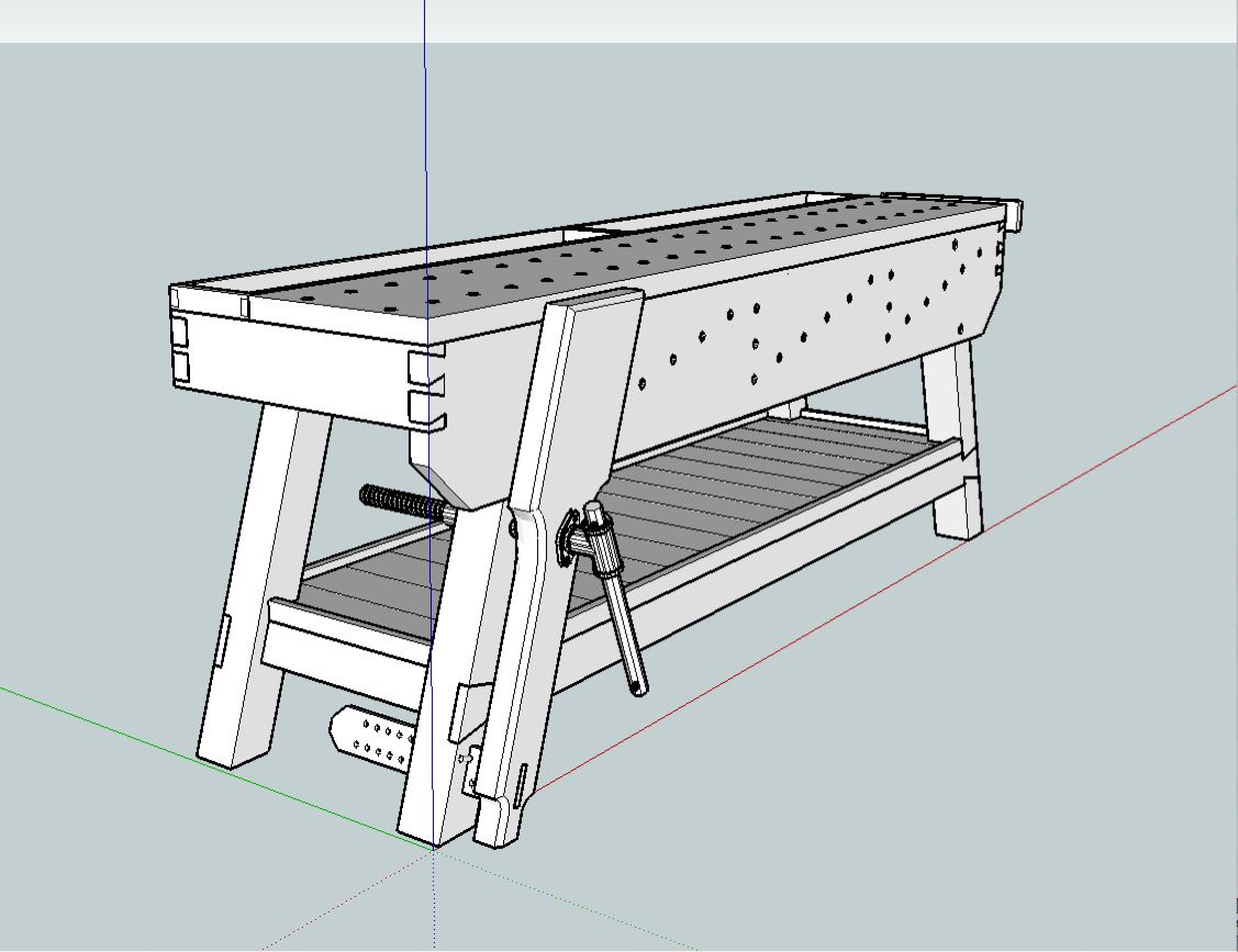 1127x867 Sketchup Bench.jpg Tool Storage Ideas
