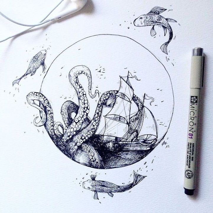 721x721 Intricate Pen Drawings Interweave Elements Of The Natural World