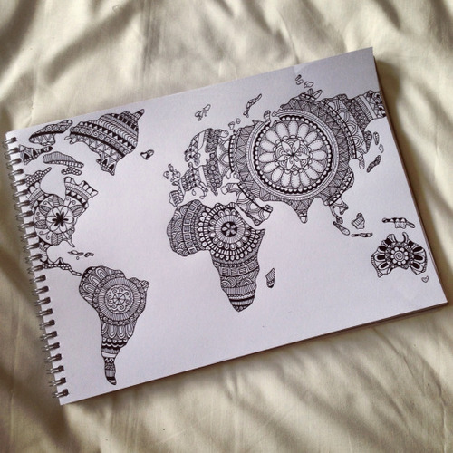 500x500 World Map Drawing Tumblr Uploaded By K