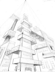 229x300 My City Drawing By Alyssa Barilar