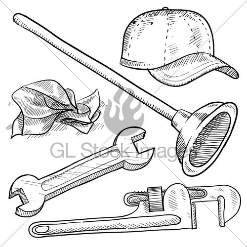 500x500 Plumbing Equipment Sketch Gl Stock Images