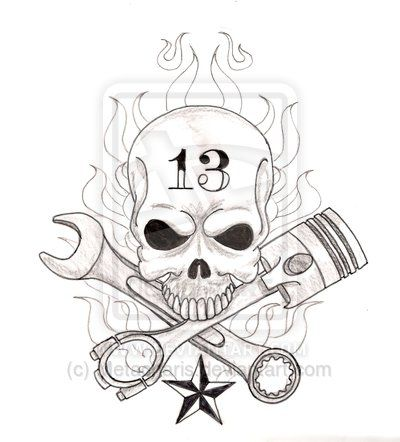 400x442 Skull And Wrenches Drawings Skull With Crossed Wrench And Piston
