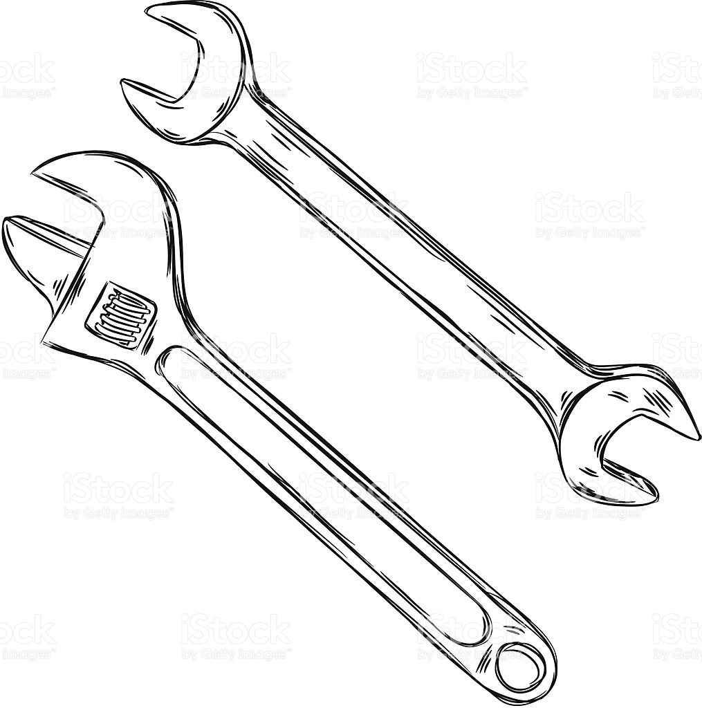 1015x1024 Collection Of Wrench Sketch Drawing High Quality, Free