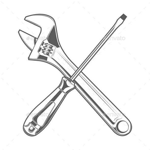 590x590 Wrench And Screwdriver By Snitovets Graphicriver