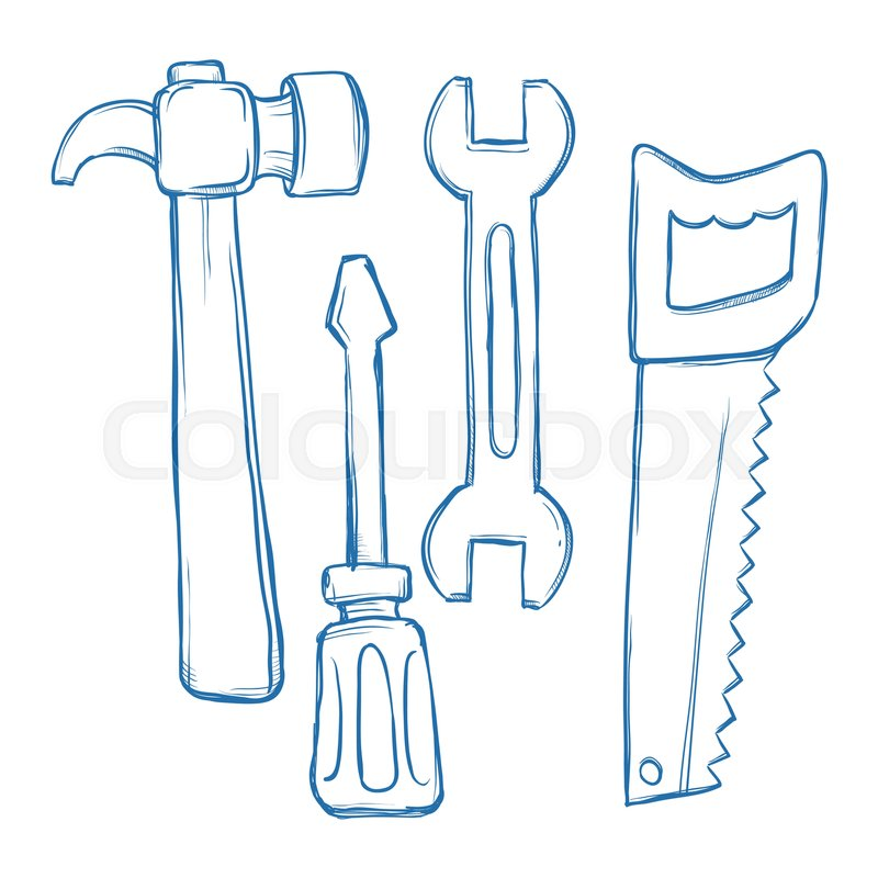 800x800 Vector Stock Of Hammer, Wrench, Saw, Screw Driver Tools In Sketch