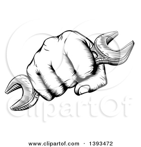 450x470 Clipart Of A Retro Black And White Woodcut Or Engraved Fisted Hand