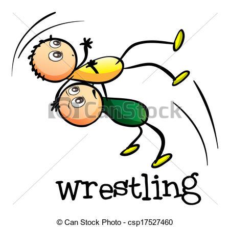 450x446 Two Men Wrestling. Illustration Of The Two Men Wrestling On