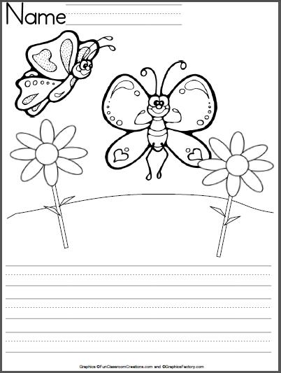 402x533 Butterfly Kindergarten Writing Template