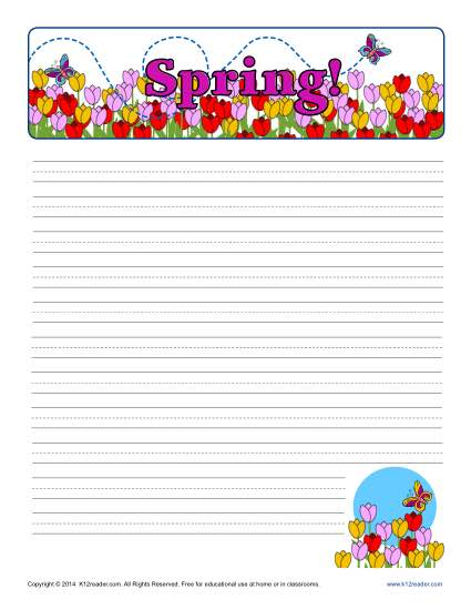 425x550 Spring Printable Lined Writing Paper